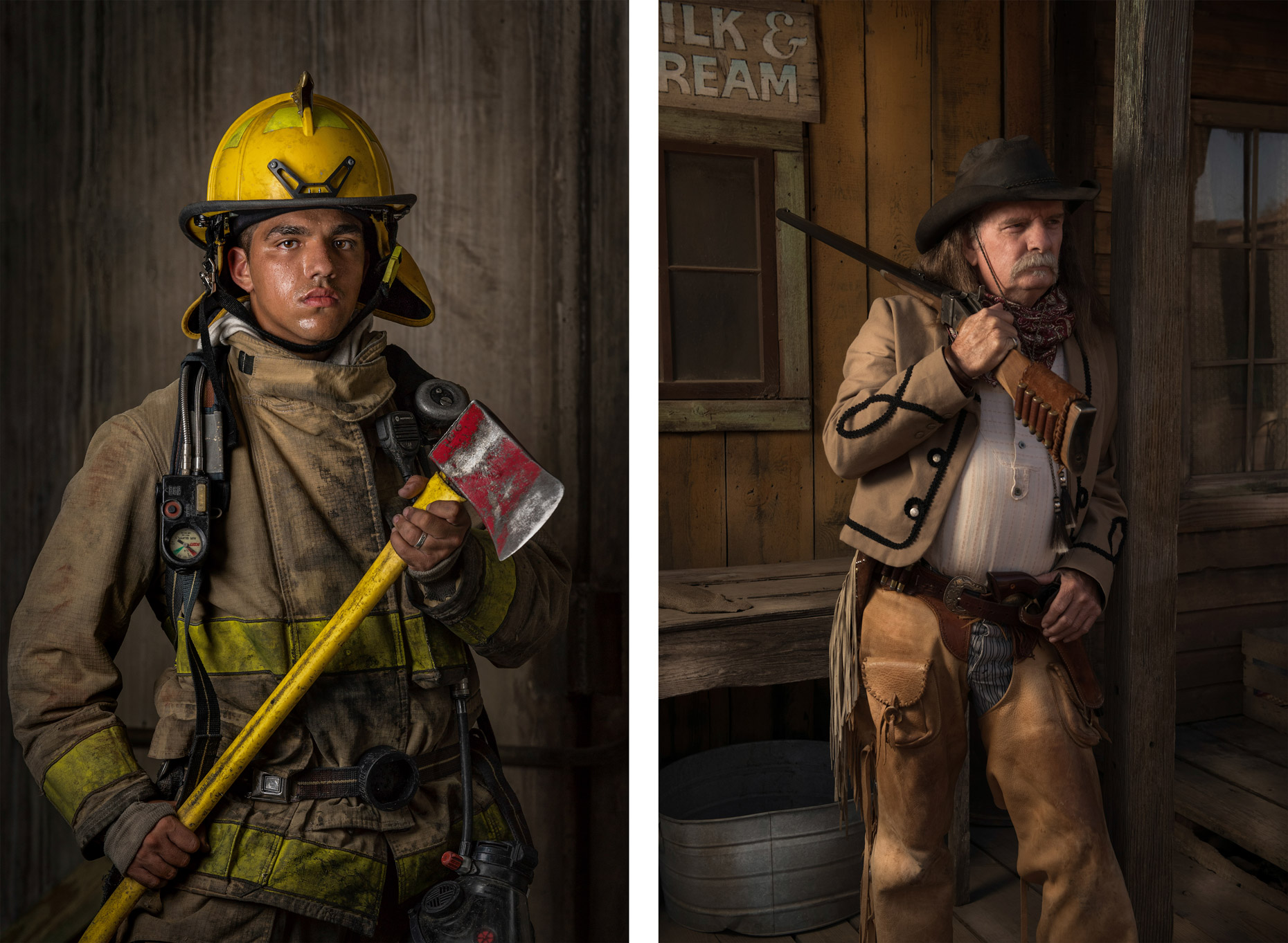 Fireman and Cowboy - Arlington, Texas Editorial photographer Kevin Brown