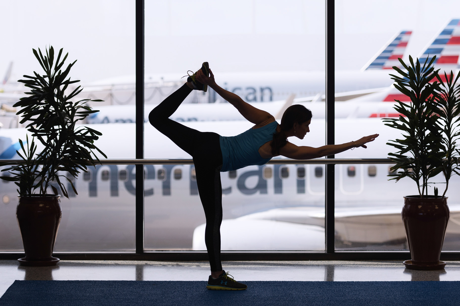 Yoga at DFW Airport by Kevin Brown