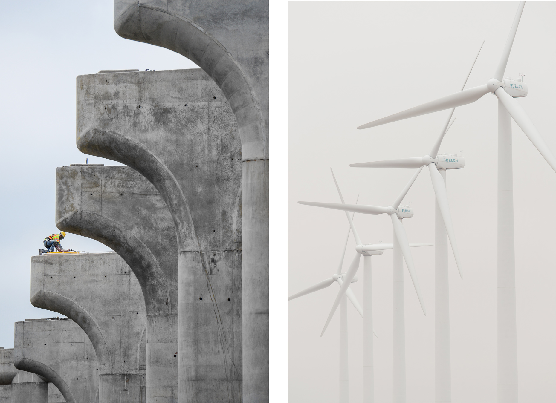 Concrete work photographed by Kevin Brown, industrial photographer in Dallas. Also, wind turbine photography in the Oklahoma panhandle.