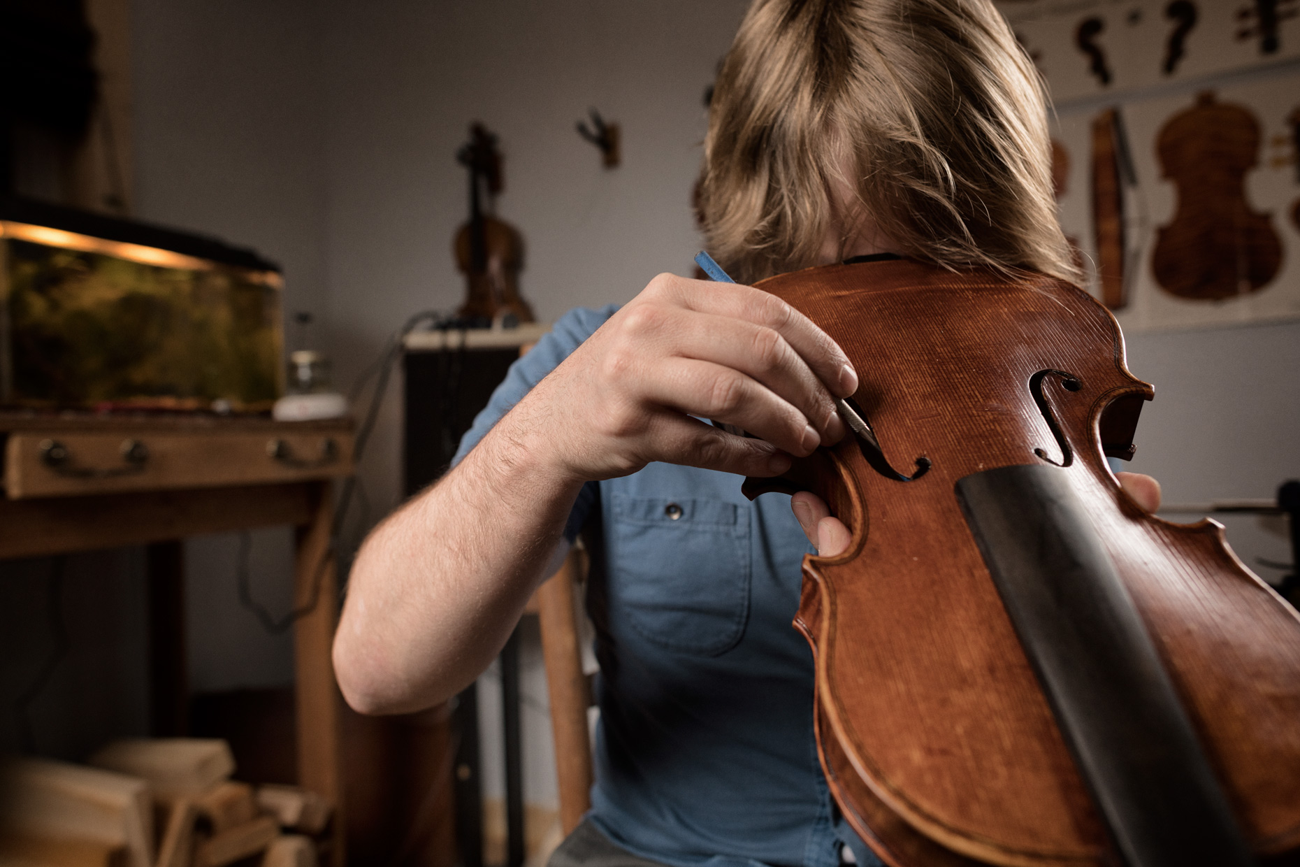 Lafayette, LA violin maker by photographer Kevin Brown