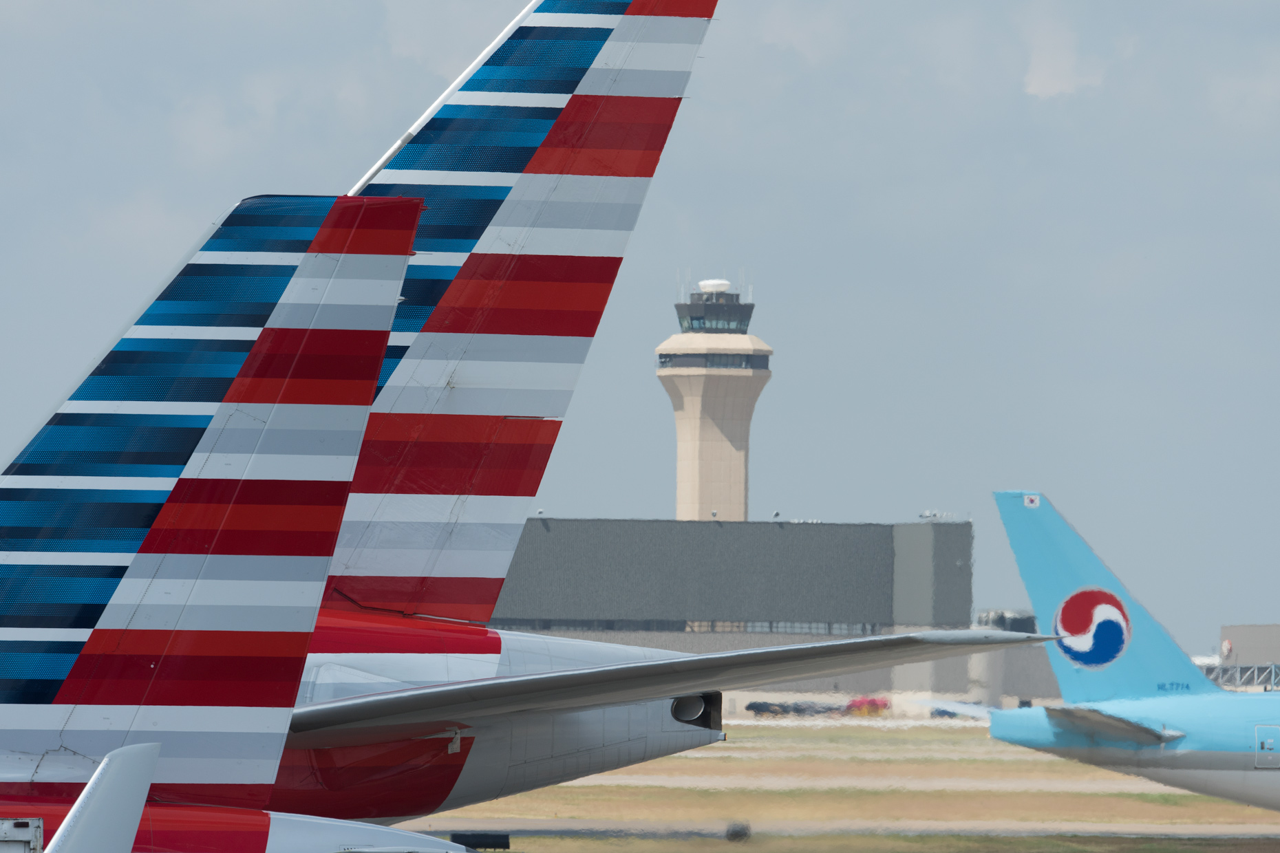 American Airlines tails at DFW Airport by commercial photographer in Dallas Kevin Brown