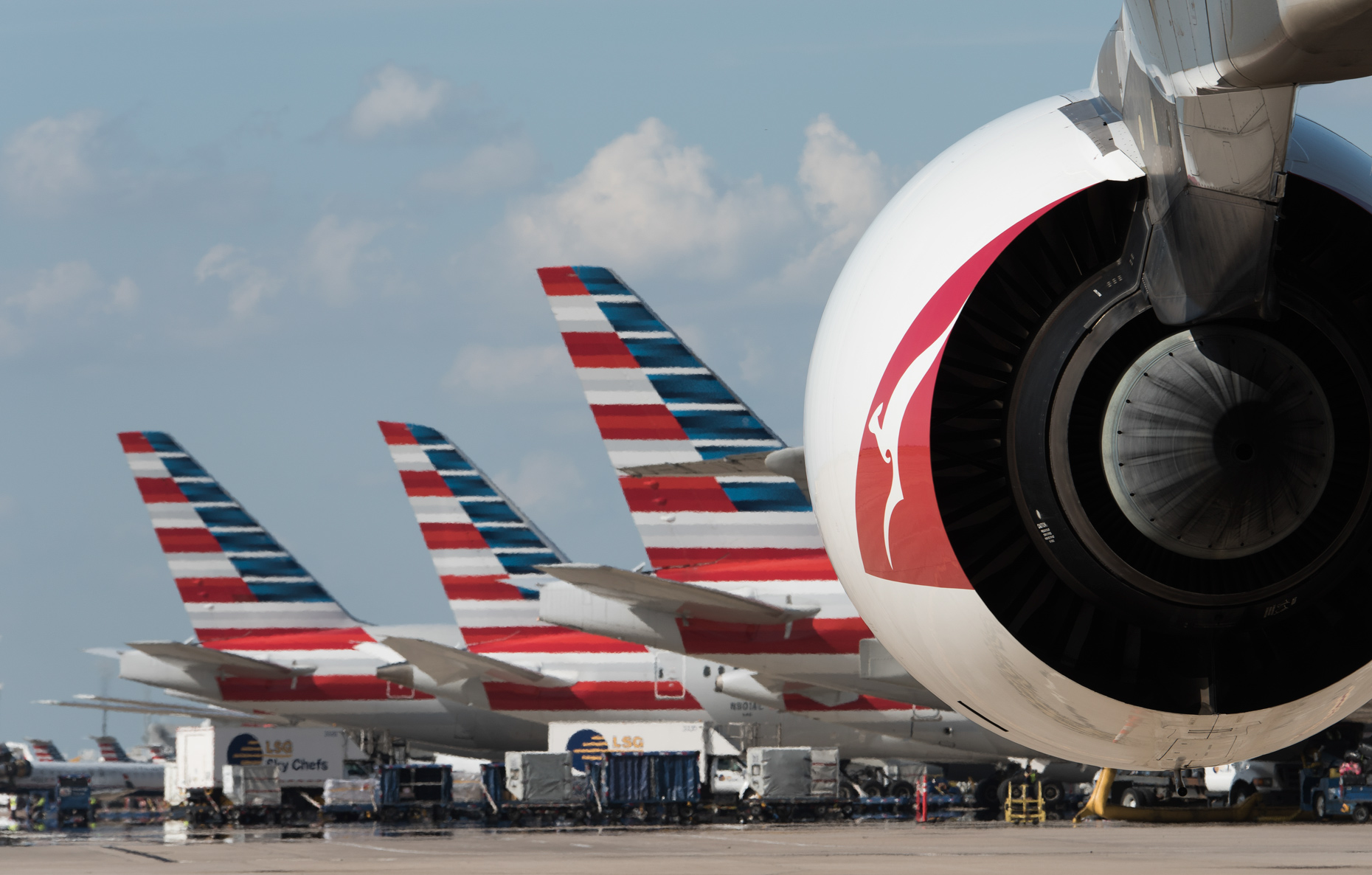 American Airlines jets at DFW Airport by commercial photographer in Dallas Kevin Brown
