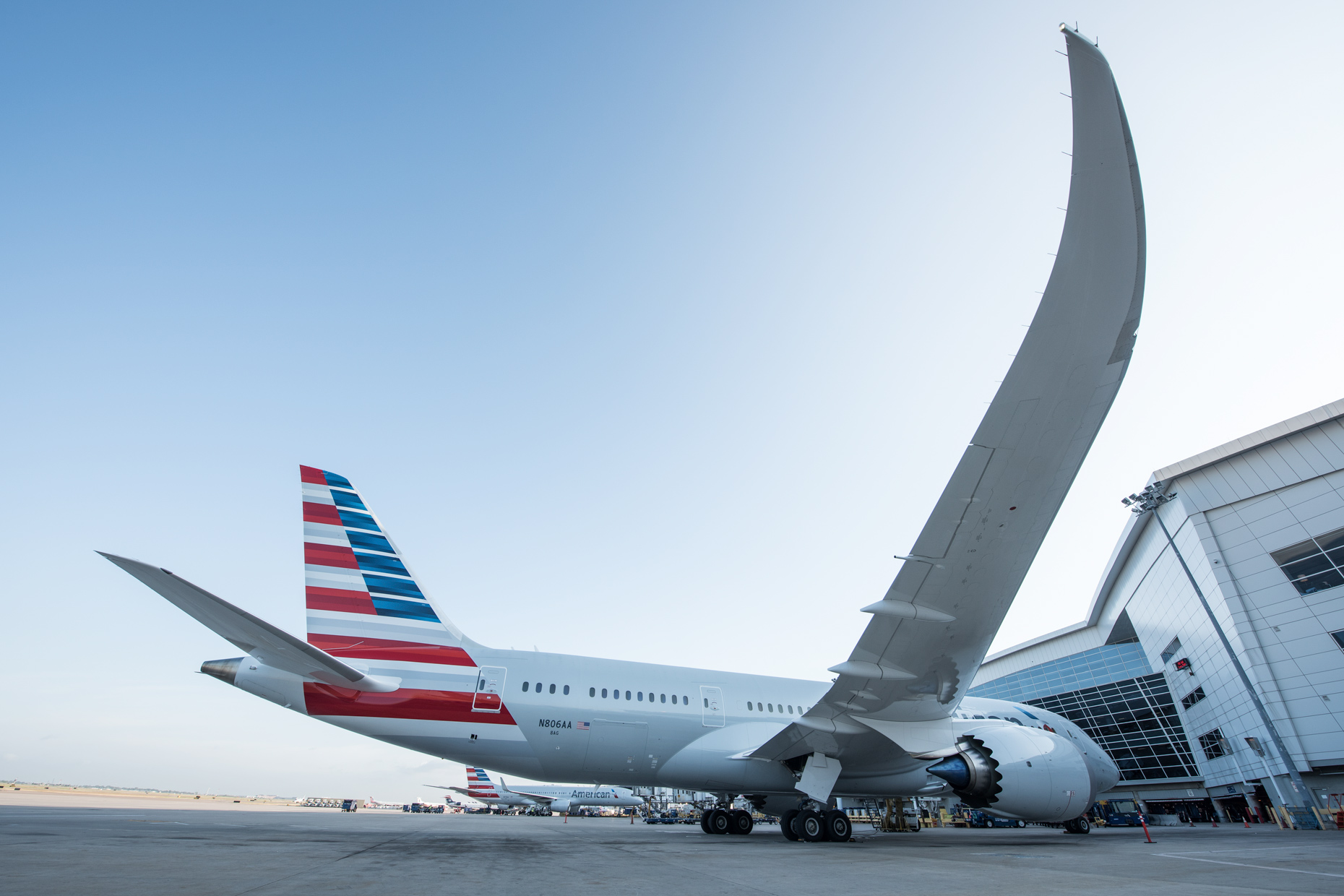 Boeing 787 American Airlines by commercial photographer in Dallas Kevin Brown