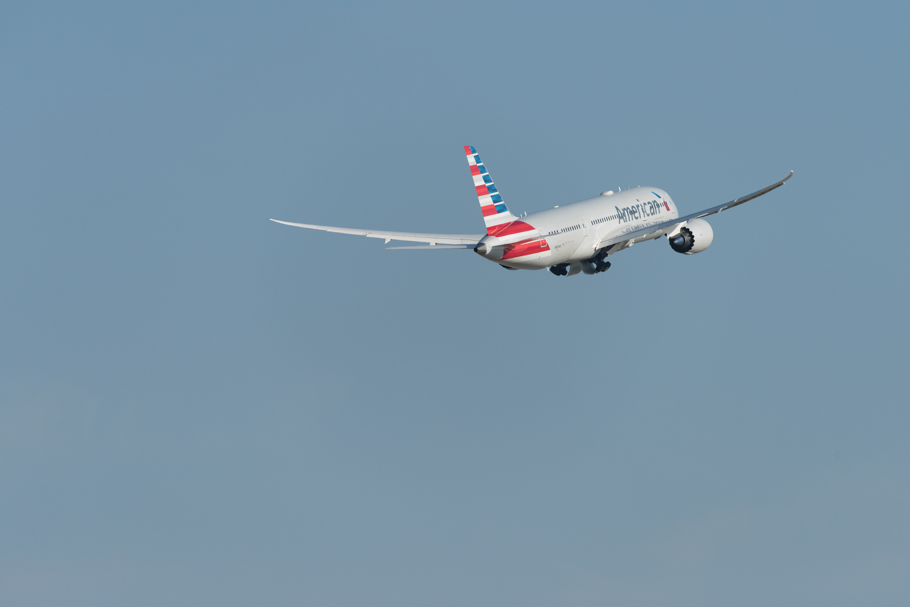 Boeing 787 taking off at DFW Airport by commercial photographer in Dallas Kevin Brown