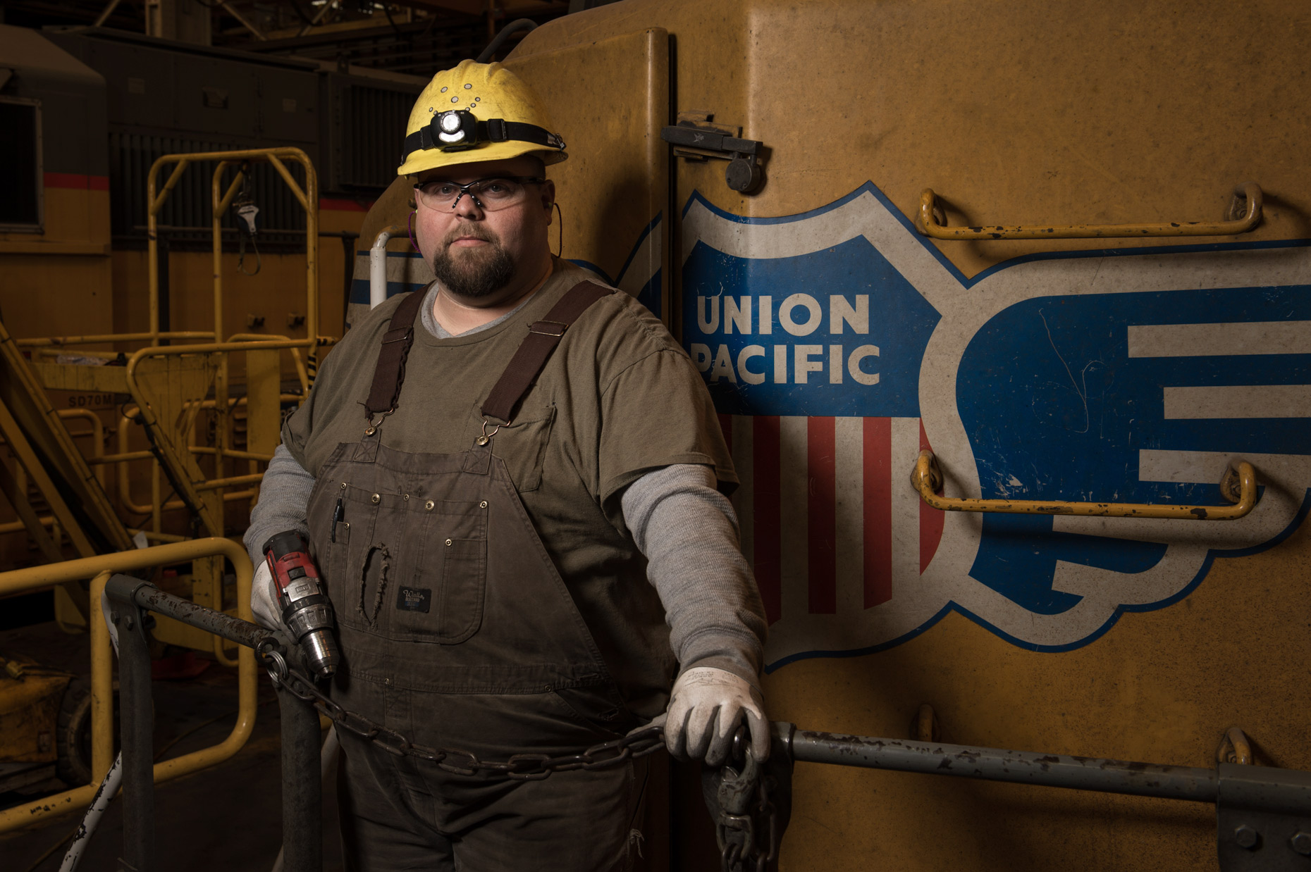 Railroad worker for Union Pacific Railroad photographed by Kevin Brown.