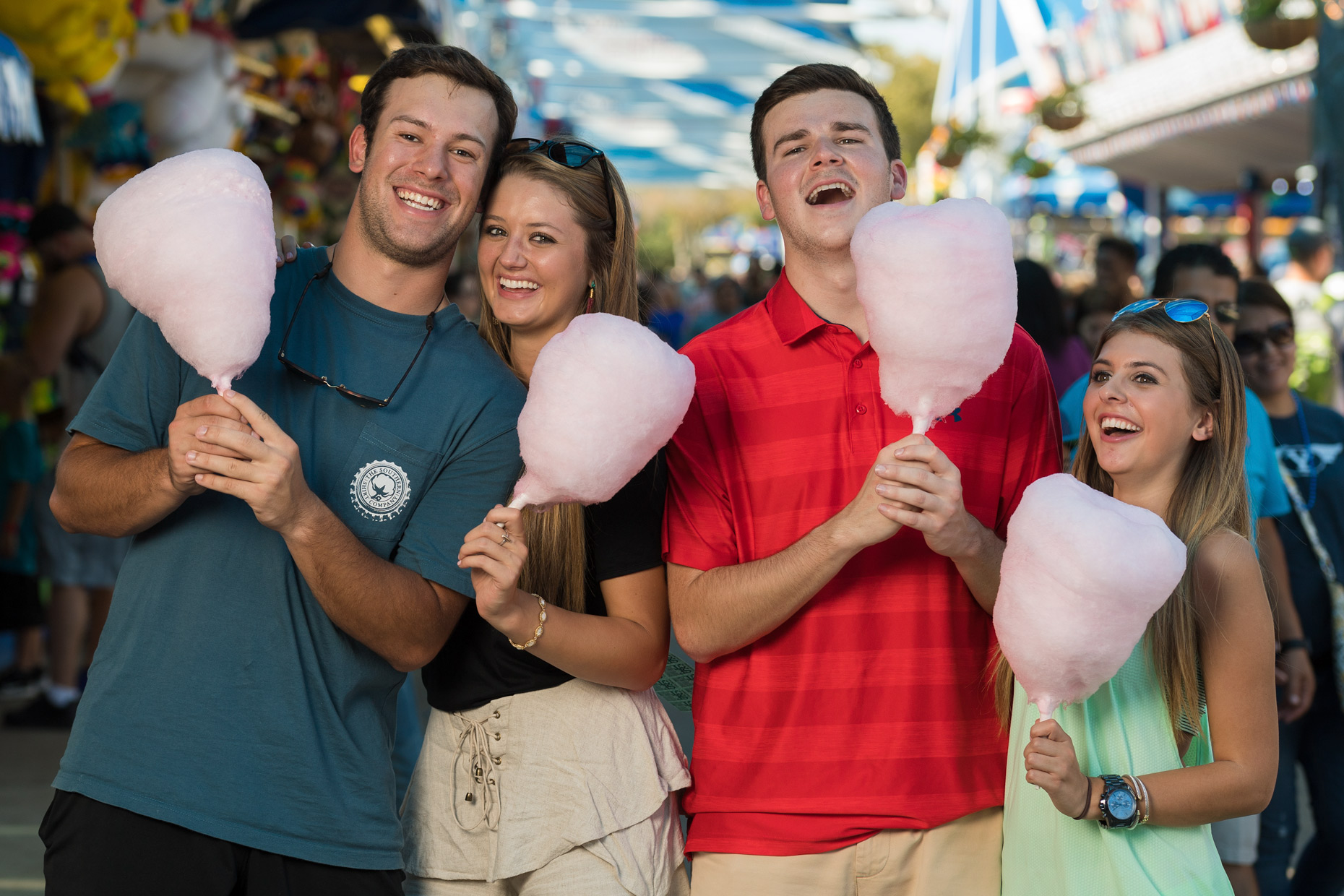 Kids and cotton candy at The State Fair of Texas. Photography by Kevin Brown