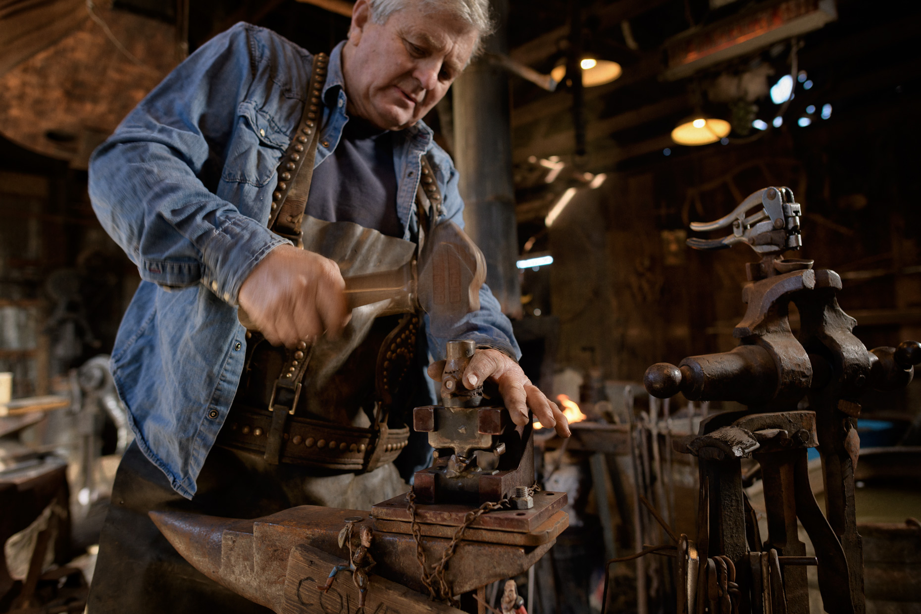 Grapevine, TX blacksmith by Dallas editorial photographer Kevin Brown