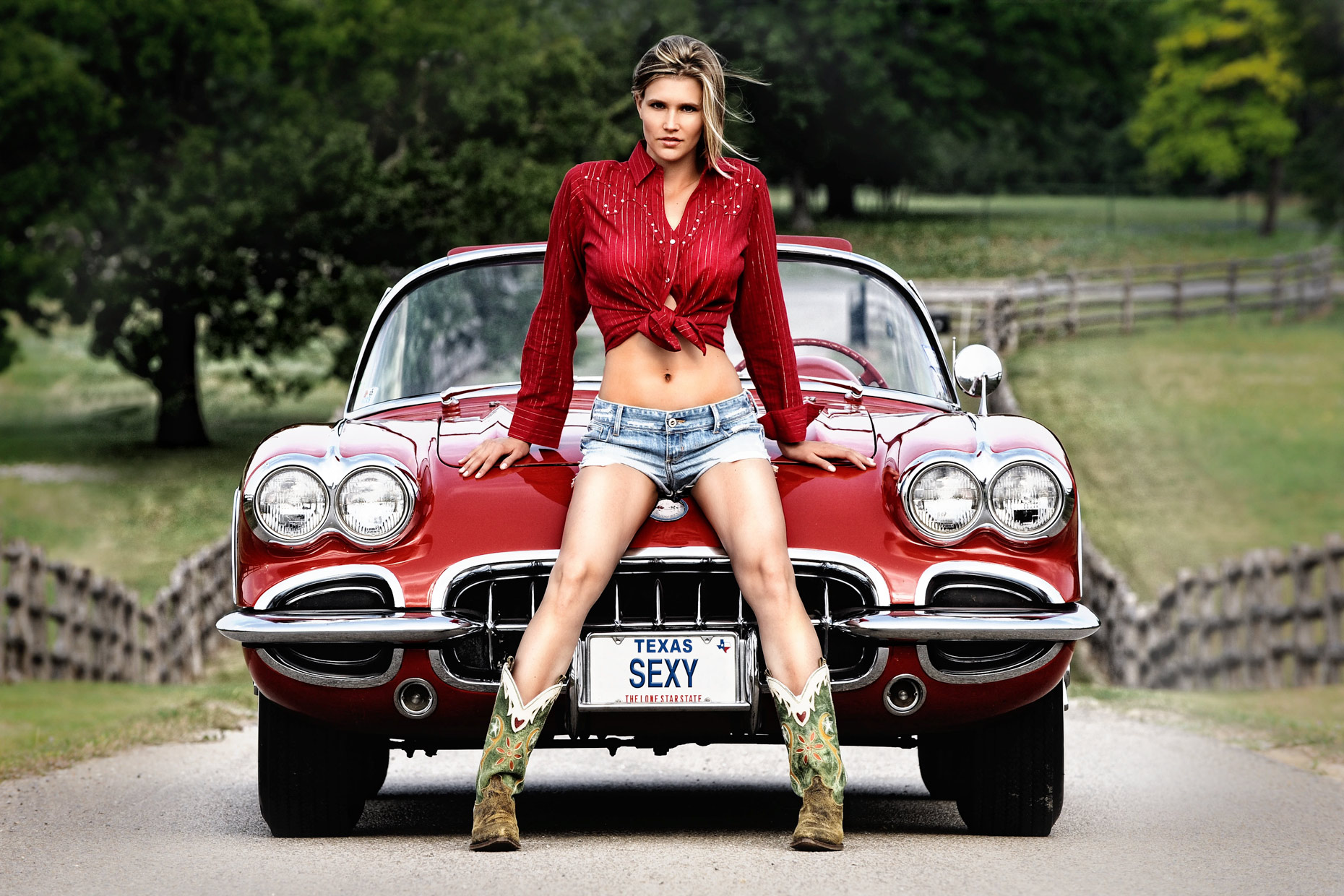 Girl with corvette - Dallas, Texas Editorial photographer Kevin Brown